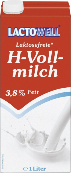 "H-Milch 3,8% Vollmilch ""Lactowell"" Lactosefrei 1,0l"